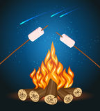 Bonfire with marshmallow, camping grill marshmallow vector illustration Royalty Free Stock Photo