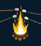 Bonfire with marshmallow. Logs and fire. Royalty Free Stock Image