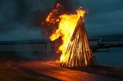 Bonfire at a midsummer festival Stock Photo