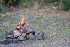 Bonfire on natural background Royalty Free Stock Image