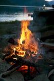 Bonfire near lake Royalty Free Stock Photography