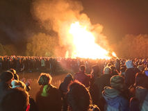 Bonfire night festivities of Lewes. Lewes, England - 5 November 2016: Crowd gathering around the great bonfire of the yearly celebration of the Bonfire night Stock Images