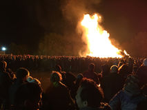 Bonfire night festivities of Lewes. Lewes, England - 5 November 2016: Crowd gathering around the great bonfire of the yearly celebration of the Bonfire night Royalty Free Stock Photos