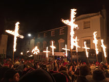Bonfire night festivities of Lewes. Lewes, England - 5 November 2016: Dark and crowded streets of Lewes for the fire parade of the yearly celebration of the Royalty Free Stock Image