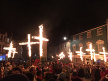 Bonfire night festivities of Lewes. Lewes, England - 5 November 2016: Dark and crowded streets of Lewes for the fire parade of the yearly celebration of the Royalty Free Stock Images