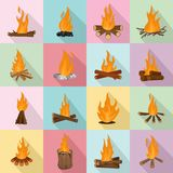 Bonfire night fire icons set, flat style. Bonfire night fire icons set. Flat illustration of 16 bonfire night fire vector icons for web Stock Images