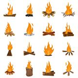 Bonfire night fire icons set vector isolated. Bonfire night fire icons set. Flat illustration of 16 bonfire night fire vector icons isolated on white Stock Photos