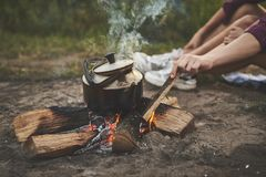 Bonfire, outdoor activities royalty free stock photography