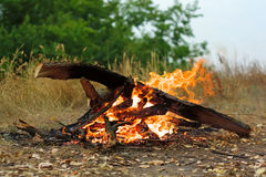Bonfire in picnic Royalty Free Stock Photos