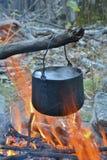 Bonfire and pot 13 Royalty Free Stock Photos