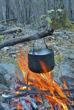 Bonfire and pot 19 Royalty Free Stock Photos