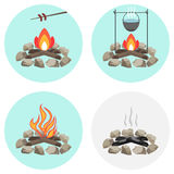 Bonfire, a pot on the fire, fry the sausage at the stake, ashes, coals, firewood. Flat design,  illustration Stock Photos