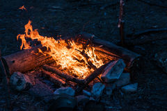 Bonfire by the river. Fire in the campaign against river Royalty Free Stock Photos