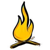 Bonfire simple cartoon doodle image Stock Image