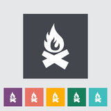 Bonfire. Single flat icon on the button. Vector illustration Royalty Free Stock Photos