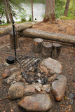 Bonfire site of camp. Royalty Free Stock Photo