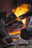 Bonfire with some metall blacksmith`s instrumentsi Royalty Free Stock Photos