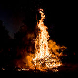 Bonfire. And sparks at the night Royalty Free Stock Photography