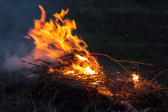 Bonfire in strong wind Royalty Free Stock Photo