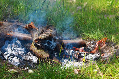 Bonfire on a Sunny day among the green grass. Beautiful bonfire on a Sunny day among the green grass Stock Image