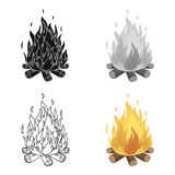 Bonfire.Tent single icon in cartoon style vector symbol stock illustration web. Stock Image