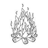 Bonfire.Tent single icon in outline style vector symbol stock illustration web. Bonfire.Tent single icon in outline style vector symbol stock illustration Royalty Free Stock Photography