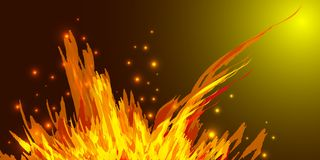 A bonfire with tongues of flame and sparks for the design of sum Royalty Free Stock Image