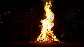 Bonfire and traditional dance of Catalonia. stock video footage