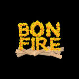 Bonfire typography. Fire letters. Burning Boards. Flame letterin Royalty Free Stock Photo