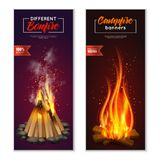 Bonfire Vertical Banners Set. Campfire banners collection with images of fire chock with smoke on ambient background with editable text vector illustration Royalty Free Stock Photography
