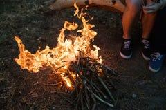 Bonfire warm tourism nature forest concept. Stock Images