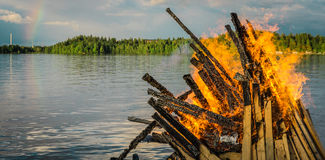 Bonfire on water in Tampere, Finland Stock Photo