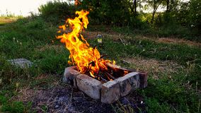 Bonfire. Weekend on the lake Royalty Free Stock Image