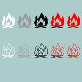 Bonfire white grey black red grey icon. Bonfire white grey black red grey icon set Stock Image