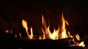 Bonfire with wood burning stock footage