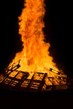 Bonfire of wood pallets. Images taken by a large warm bonfire made out of wood pallet at a fire festival in Chester County PA royalty free stock photography