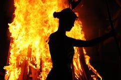 BONFIRES DANCE AT NIGHT Stock Image