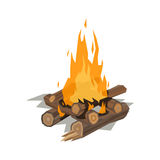 Bonfires flame isolated vector illustration. Isolated illustration of campfire logs burning bonfire. Firewood stack on white background. Vector wood explosion Stock Photography
