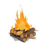 Bonfires flame isolated vector illustration. Isolated illustration of campfire logs burning bonfire. Firewood stack on white background. Vector wood explosion Royalty Free Stock Photo