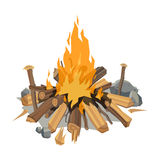 Bonfires flame isolated vector illustration. Isolated illustration of campfire logs burning bonfire. Firewood stack on white background. Vector wood explosion Royalty Free Stock Image