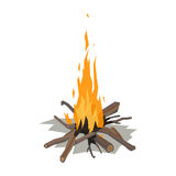 Bonfires flame isolated vector illustration. Isolated illustration of campfire logs burning bonfire. Firewood stack on white background. Vector wood explosion Stock Photo