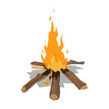 Bonfires flame isolated vector illustration. Isolated illustration of campfire logs burning bonfire. Firewood stack on white background. Vector wood explosion Royalty Free Stock Photography