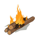 Bonfires flame isolated vector illustration. Isolated illustration of campfire logs burning bonfire. Firewood stack on white background. Vector wood explosion Royalty Free Stock Photos