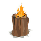 Bonfires flame isolated vector illustration. Isolated illustration of campfire logs burning bonfire. Firewood stack on white background. Vector wood explosion Stock Images