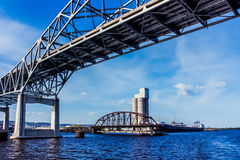 Bridges and Ship Royalty Free Stock Image