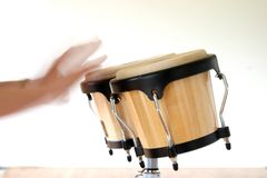 Bongo Drumming. A bongo player drumming with intentional motion blur Stock Photos