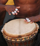 Bongo Drums. Played by male drummer Stock Photos