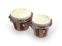 Bongo Drums. Against a white background stock photos