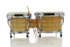 Bongo set with drum sticks Royalty Free Stock Photography