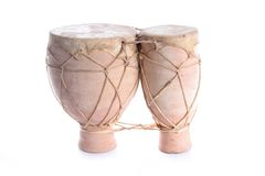 Bongos. Terracotta bongo drums on a white background Stock Image